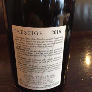 Prestige 2016 - vin blanc - Côtes d'Auvergne verso