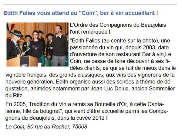 Le Coin bar à vin acteurs économiques Paris 8ème