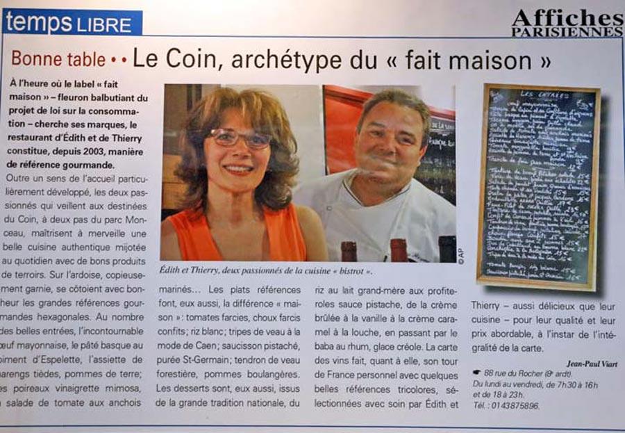 Bistrot Le Coin Paris dans Affiches Parisiennes