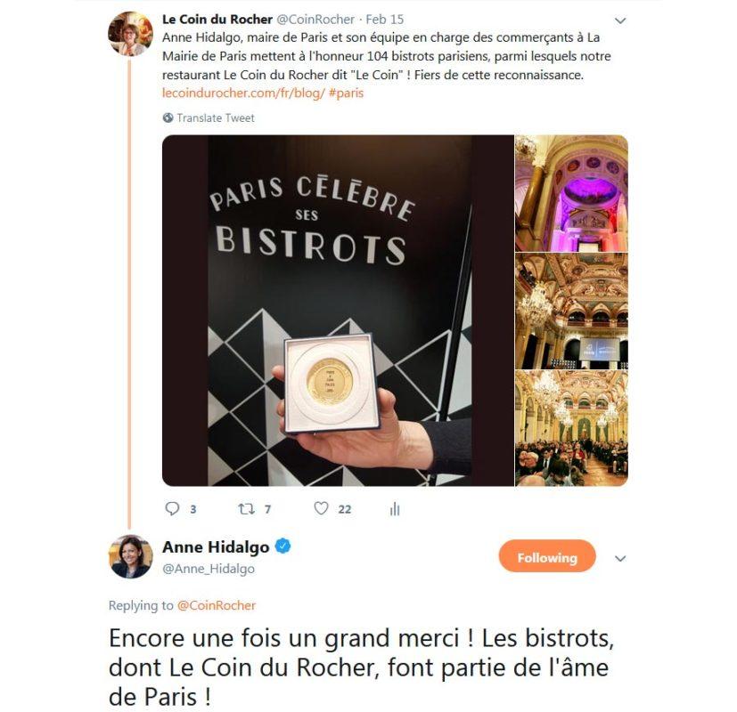 félicitations de Anne-Hidalgo, maire de Paris, au Coin du Rocher, février 2019