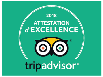 Attestation d'excellence TripAdvisor 2018 pour restaurant Le Coin