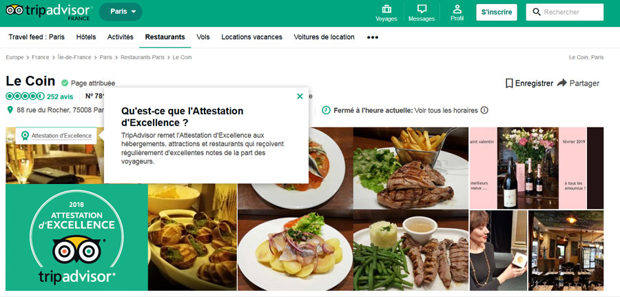tripadvisor attestation d'excellence 2018 pour restaurant le coin, paris