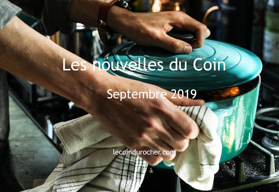newsletter restaurant Le Coin : septembre 2019