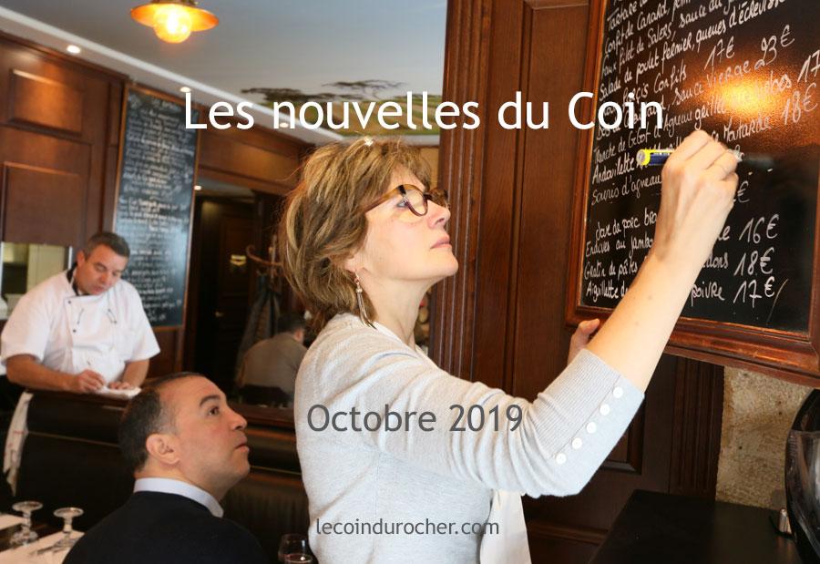 Newsletter du restaurant Le Coin du Rocher Paris - octobre 2019